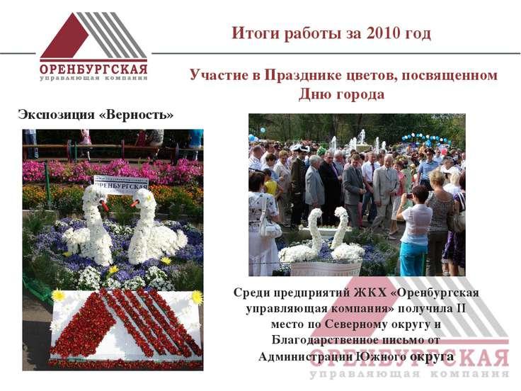Итоги работы за 2010 год Участие в Празднике цветов, посвященном Дню города ...