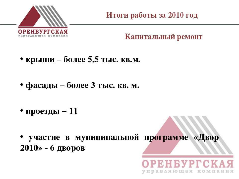 Итоги работы за 2010 год крыши – более 5,5 тыс. кв.м. фасады – более 3 тыс. к...