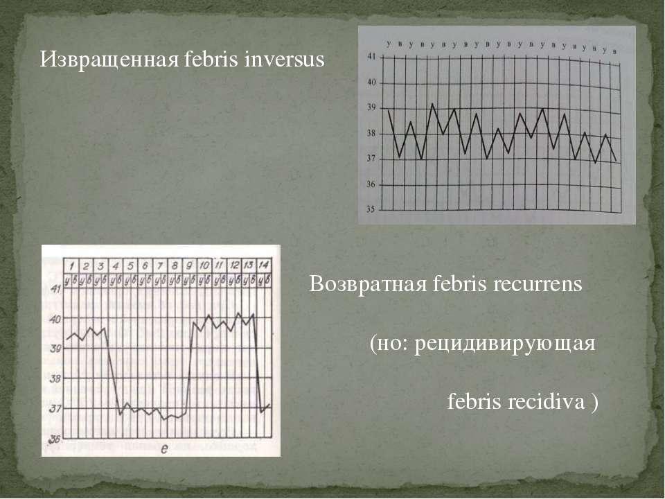 Извращенная febris inversus Возвратная febris recurrens (но: рецидивирующая f...