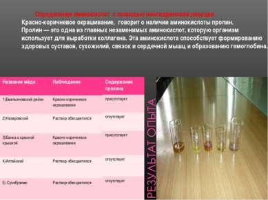 Определение аминокислот с помощью нингидриновой реакции Красно-коричневое окр...
