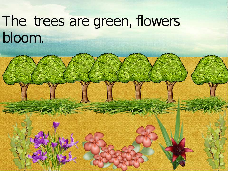 Trees are green, flowers bloom. The trees are green, flowers bloom.