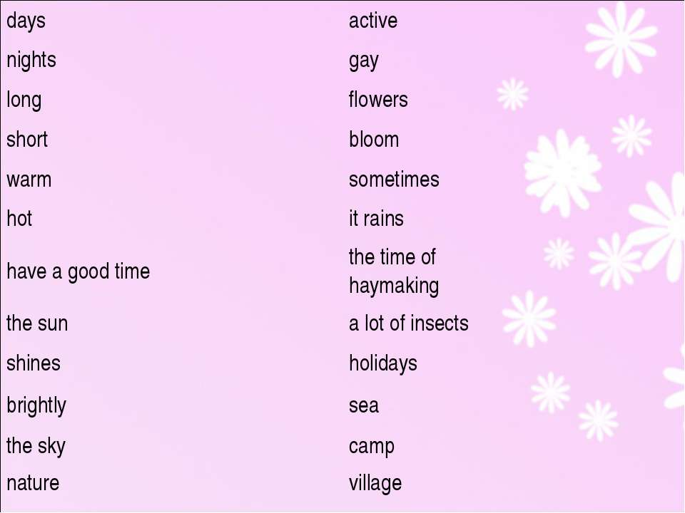 days active nights gay long flowers short bloom warm sometimes hot it rains h...