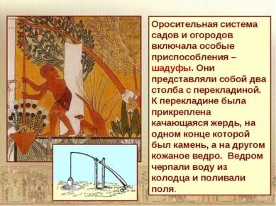 Оросительная система садов и огородов включала особые приспособления – шадуфы...