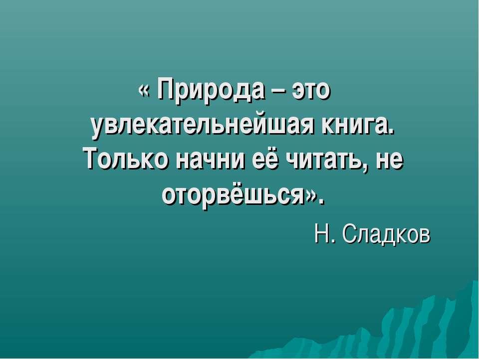 « Природа – это увлекательнейшая книга. Только начни её читать, не оторвёшься...