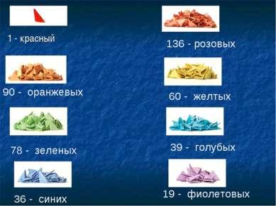 136 - розовых 90 - оранжевых 60 - желтых 78 - зеленых 39 - голубых 36 - синих...