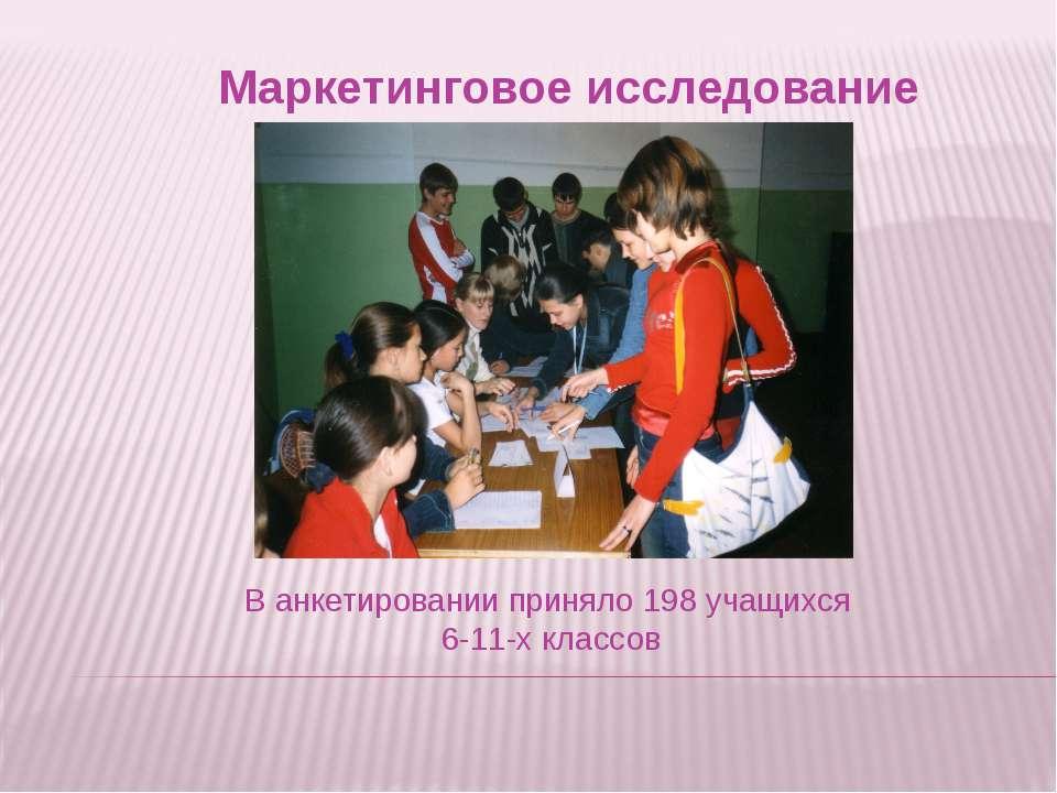Маркетинговое исследование В анкетировании приняло 198 учащихся 6-11-х классов