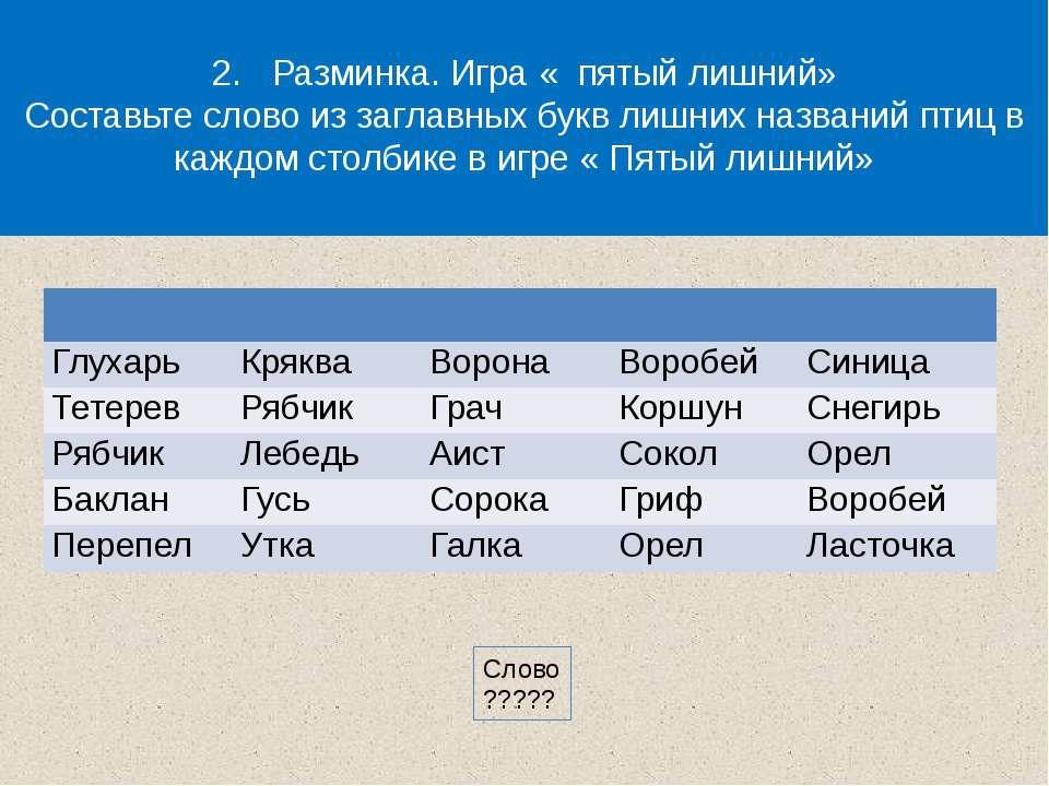 2. Разминка. Игра « пятый лишний» Составьте слово из заглавных букв лишних на...