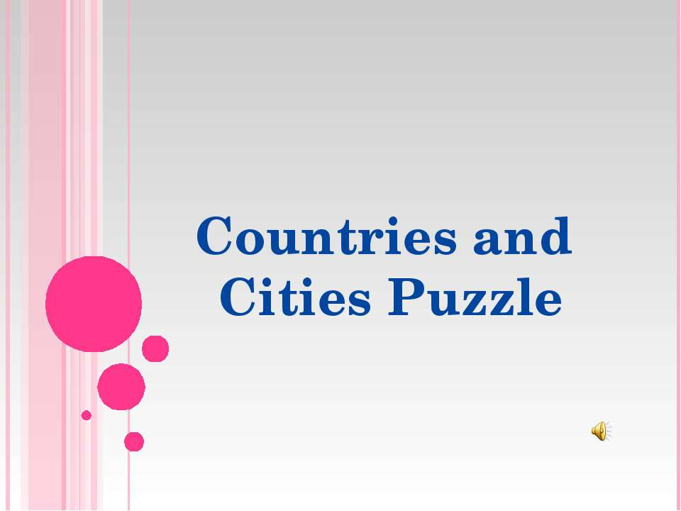 Countries and Cities Puzzle