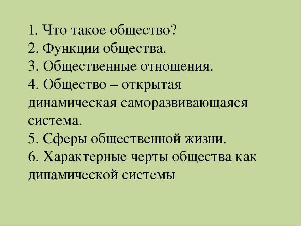1. Что такое общество? 2. Функции общества. 3. Общественные отношения. 4. Общ...