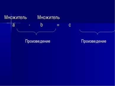 Множитель Множитель а · b = с Произведение Произведение