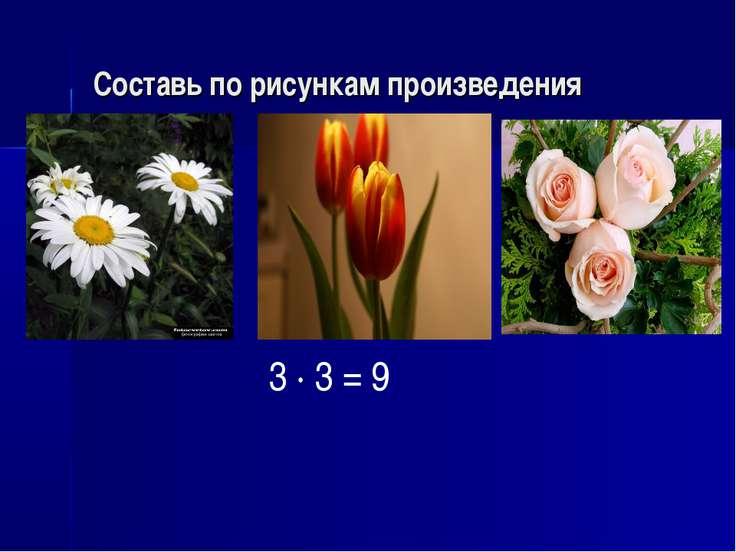 Составь по рисункам произведения 3 · 3 = 9