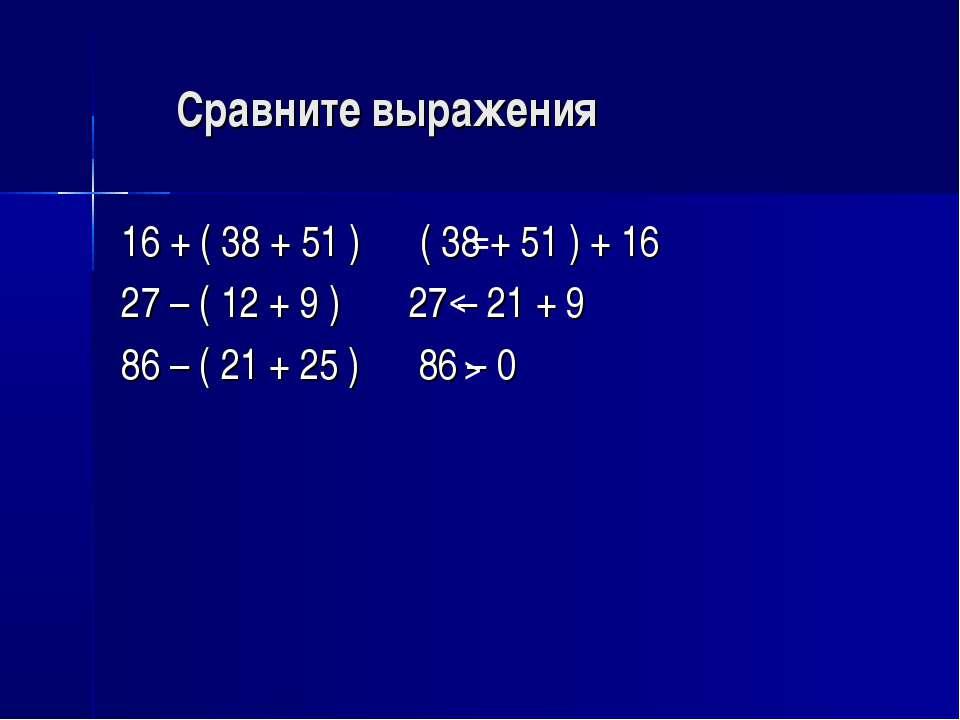Сравните выражения 16 + ( 38 + 51 ) ( 38 + 51 ) + 16 27 – ( 12 + 9 ) 27 – 21 ...