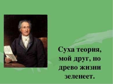Суха теория, мой друг, но древо жизни зеленеет. Иоганн Вольфганг Гете «Фауст»