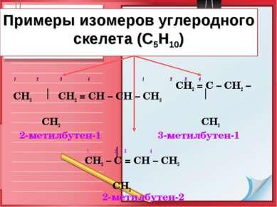 Примеры изомеров углеродного скелета (С5Н10) 1 2 3 4 1 2 3 4 СН2 = С – СН2 – ...