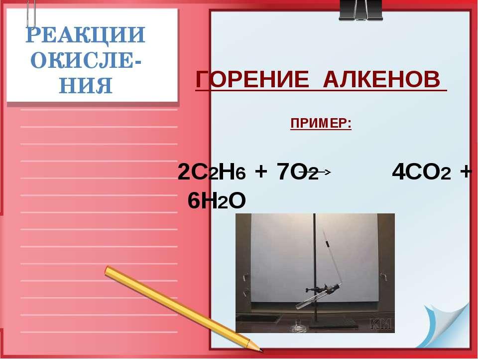 РЕАКЦИИ ОКИСЛЕ-НИЯ ГОРЕНИЕ АЛКЕНОВ ПРИМЕР: 2С2Н6 + 7О2 4СО2 + 6Н2О