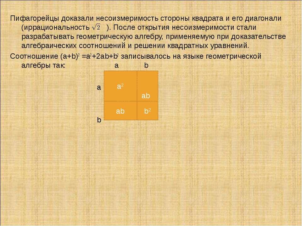 ab Пифагорейцы доказали несоизмеримость стороны квадрата и его диагонали (ирр...