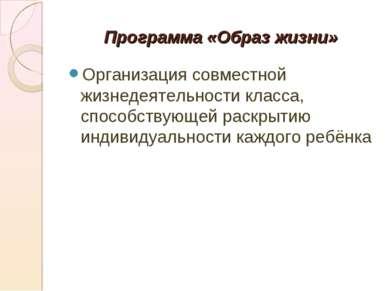 Программа «Образ жизни» Организация совместной жизнедеятельности класса, спос...