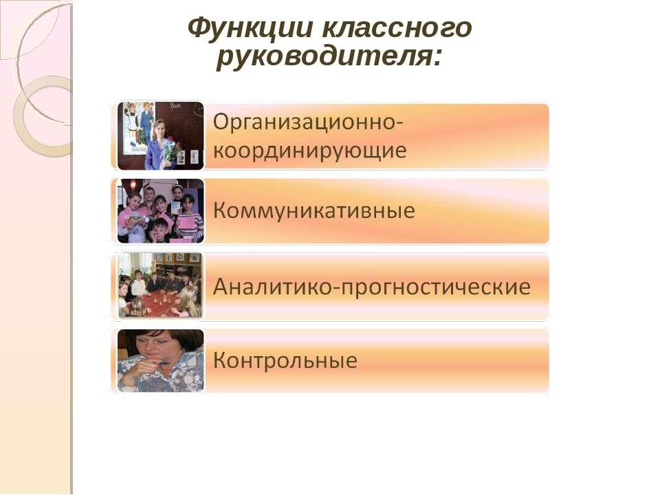Функции классного руководителя: