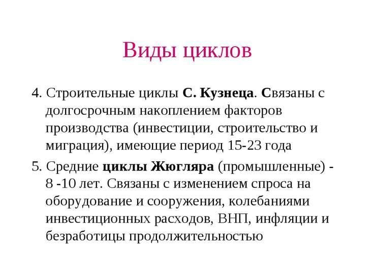 Виды циклов 4. Строительные циклы С. Кузнеца. Связаны с долгосрочным накоплен...