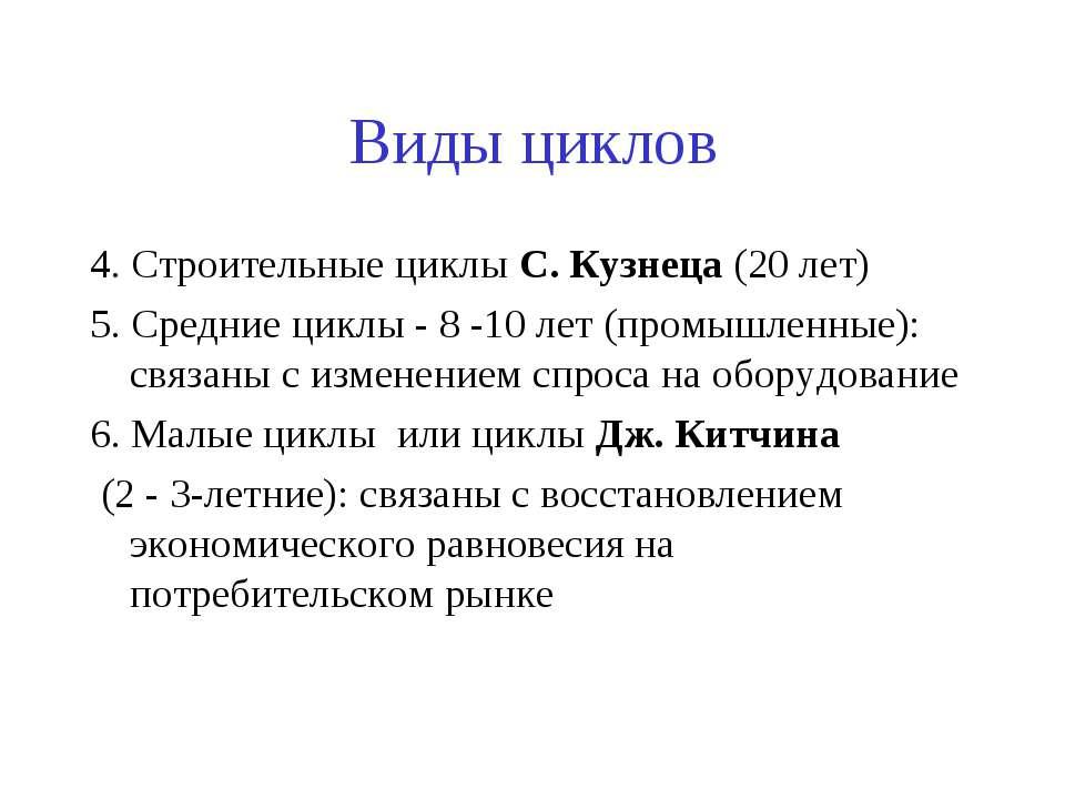 Виды циклов 4. Строительные циклы С. Кузнеца (20 лет) 5. Средние циклы - 8 -1...