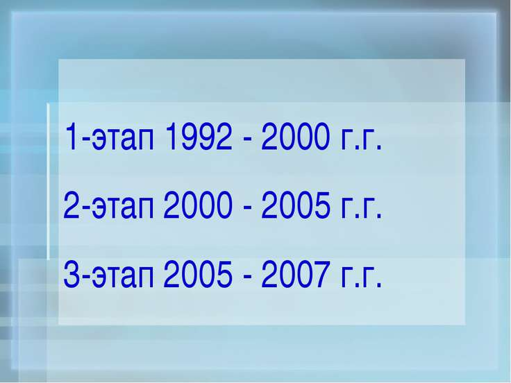 1-этап 1992 - 2000 г.г. 2-этап 2000 - 2005 г.г. 3-этап 2005 - 2007 г.г.