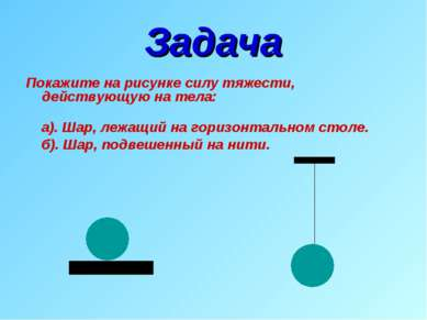 Задача Покажите на рисунке силу тяжести, действующую на тела: а). Шар, лежащи...