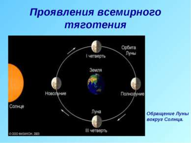 Проявления всемирного тяготения Обращение Луны вокруг Солнца.
