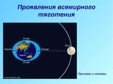 Проявления всемирного тяготения Приливы и отливы
