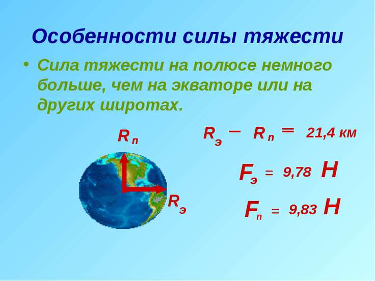 Особенности силы тяжести Сила тяжести на полюсе немного больше, чем на эквато...