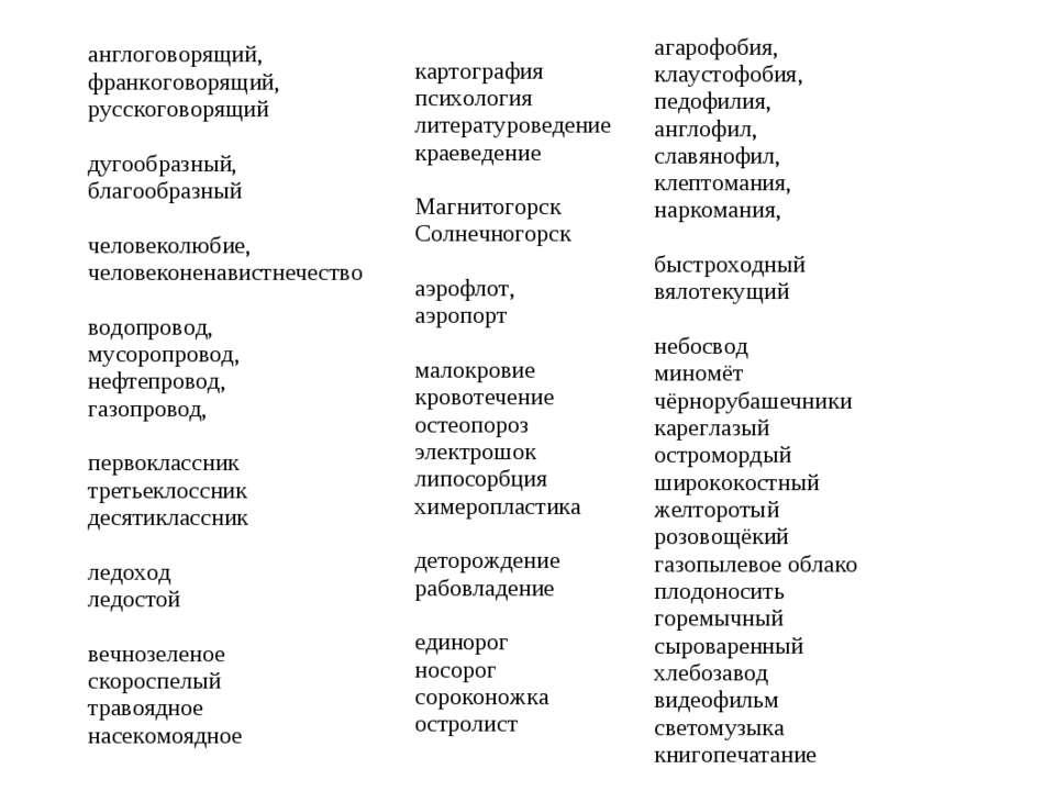 англоговорящий, франкоговорящий, русскоговорящий дугообразный, благообразный ...
