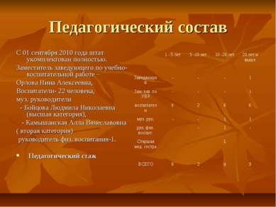 Педагогический состав С 01 сентября 2010 года штат укомплектован полностью. З...