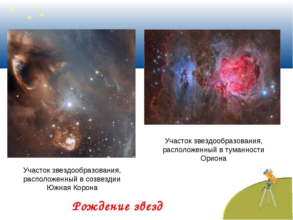 Рождение звезд Участок звездообразования, расположенный в созвездии Южная Кор...
