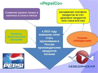 «PepsiCo» к 2015 году компания хочет стать крупнейшим в России производителем...