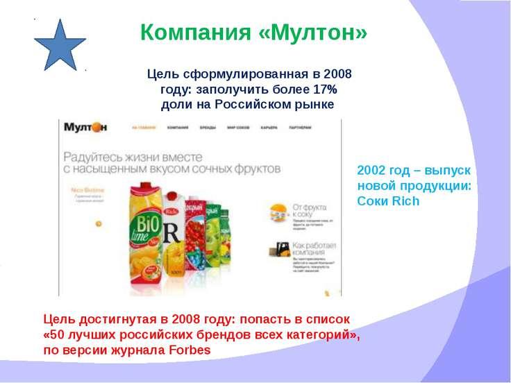 Компания «Мултон» Цель сформулированная в 2008 году: заполучить более 17% дол...