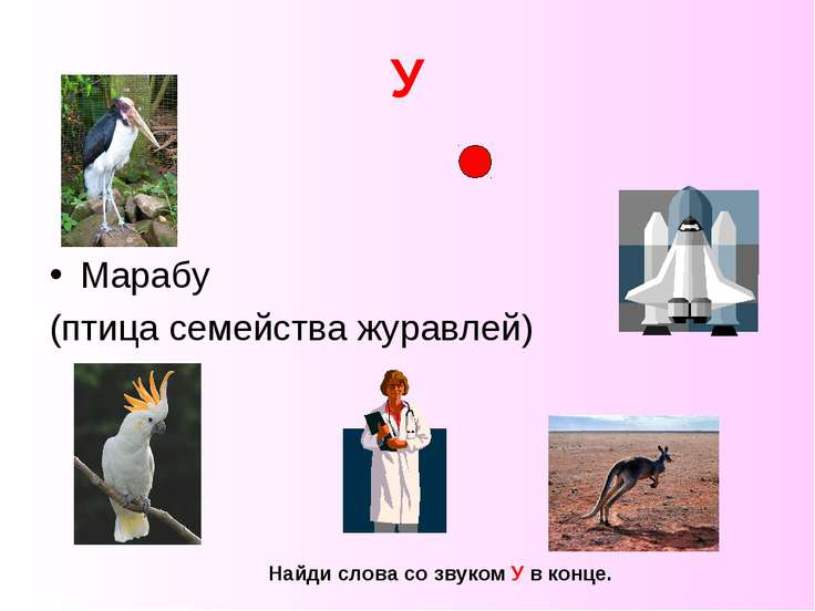 У Марабу (птица семейства журавлей) Найди слова со звуком У в конце.