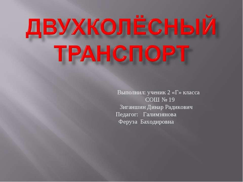Выполнил: ученик 2 «Г» класса СОШ № 19 Зиганшин Динар Радикович Педагог: Гали...