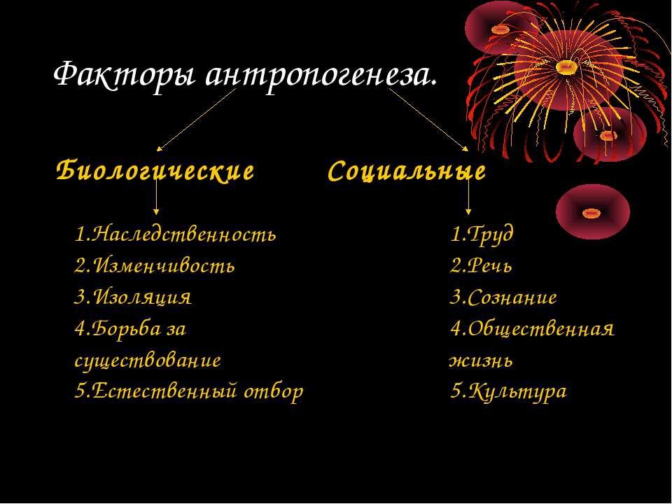 Факторы антропогенеза. Биологические Социальные 1.Наследственность 2.Изменчив...
