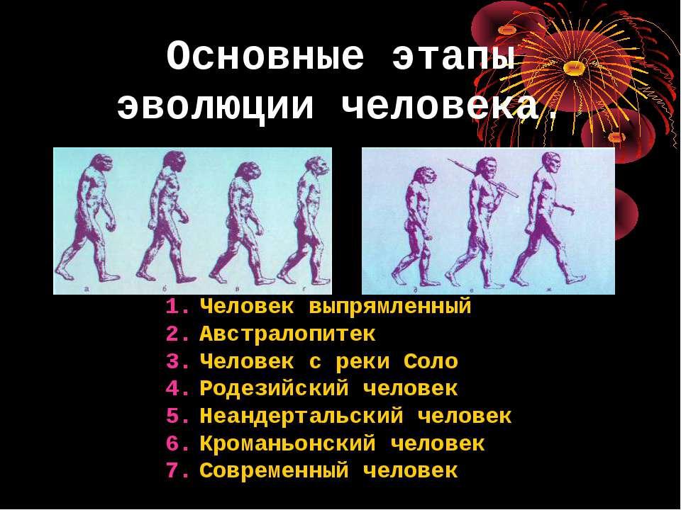 Основные этапы эволюции человека. Человек выпрямленный Австралопитек Человек ...