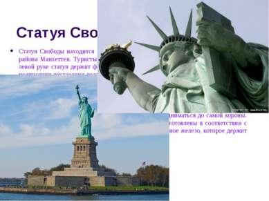 Статуя Свободы Статуя Свободы находится на острове Свободы примерно в трех ки...