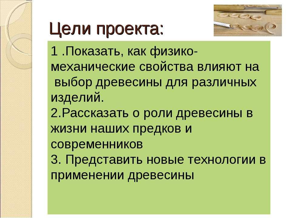 Цели проекта: 1 .Показать, как физико-механические свойства влияют на выбор д...