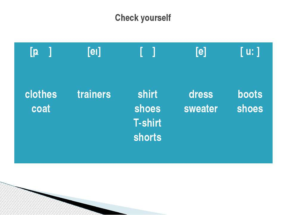 Check yourself [ǝʊ] clothes coat [eı] trainers [ ʃ ] shirt shoes T-shirt shor...