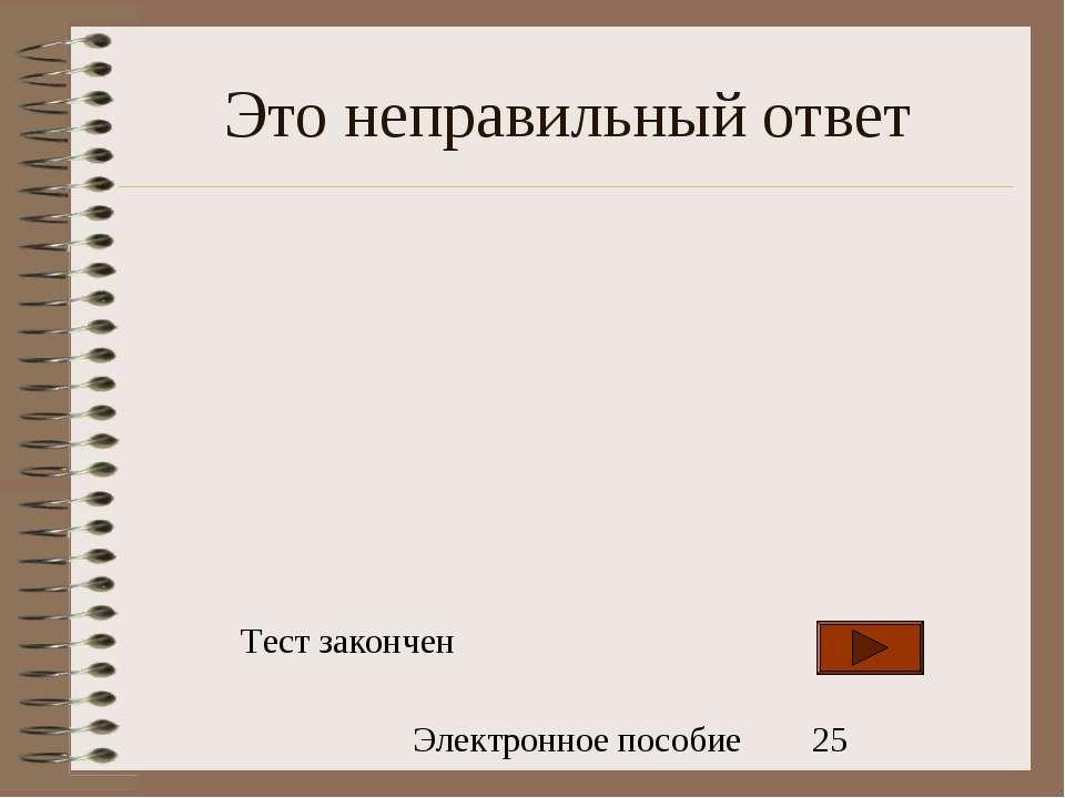 Это неправильный ответ Тест закончен Электронное пособие