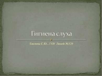 Евелева С.Ю., ГОУ Лицей №329