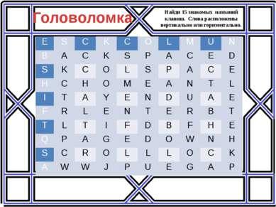 Найди 15 знакомых названий клавиш. Слова расположены вертикально или горизонт...