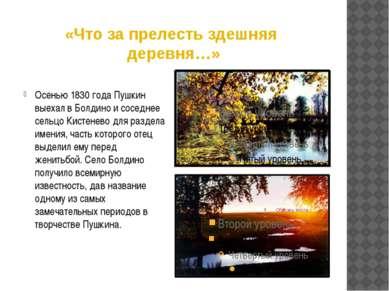 «Что за прелесть здешняя деревня…» Осенью 1830 года Пушкин выехал в Болдино и...