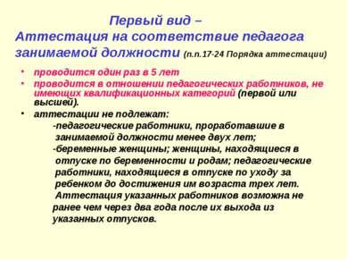 Первый вид – Аттестация на соответствие педагога занимаемой должности (п.п.17...