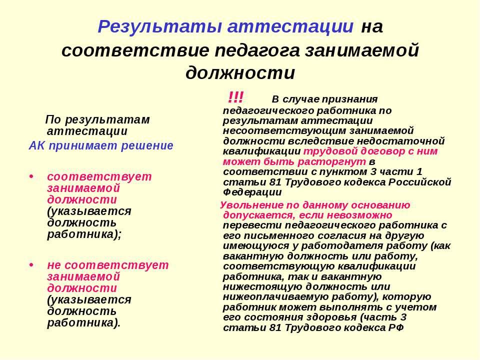 Результаты аттестации на соответствие педагога занимаемой должности По резуль...