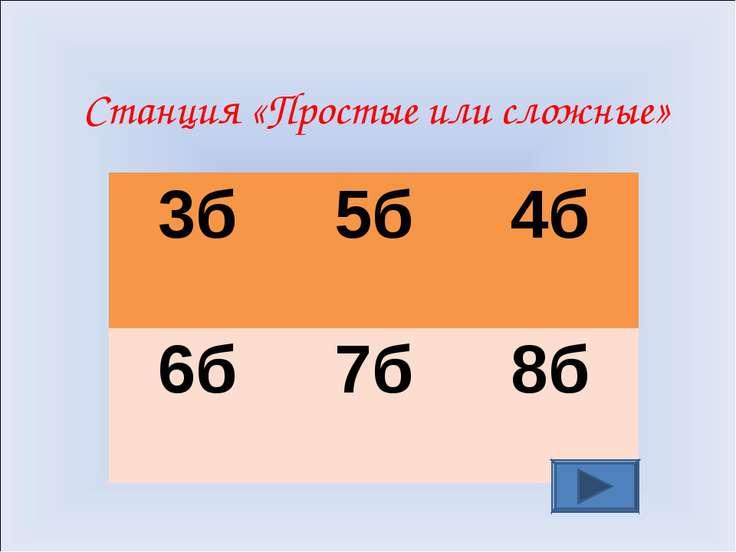 Станция «Простые или сложные» 3б 5б 4б 6б 7б 8б