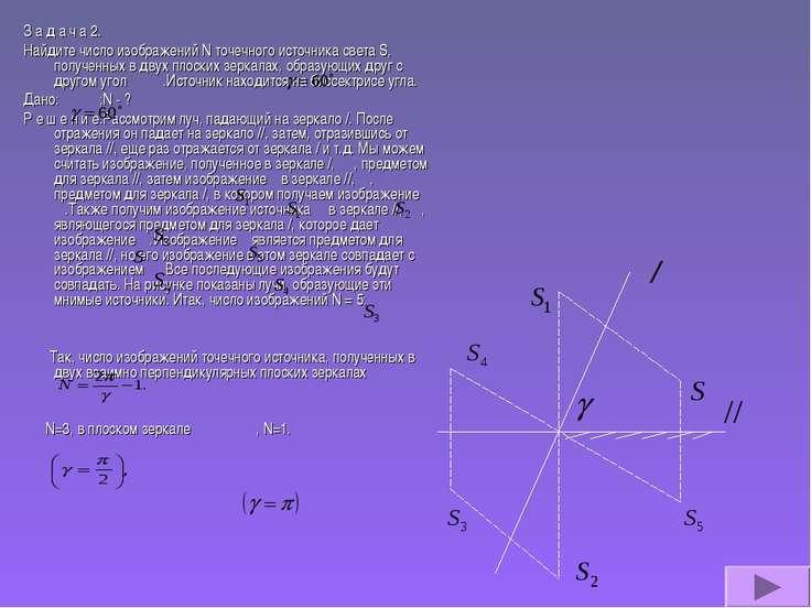 З а д а ч а 2. Найдите число изображений N точечного источника света S, получ...
