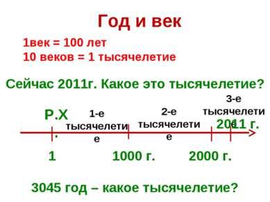 Год и век 1 1000 г. 1век = 100 лет 10 веков = 1 тысячелетие Сейчас 2011г. Как...